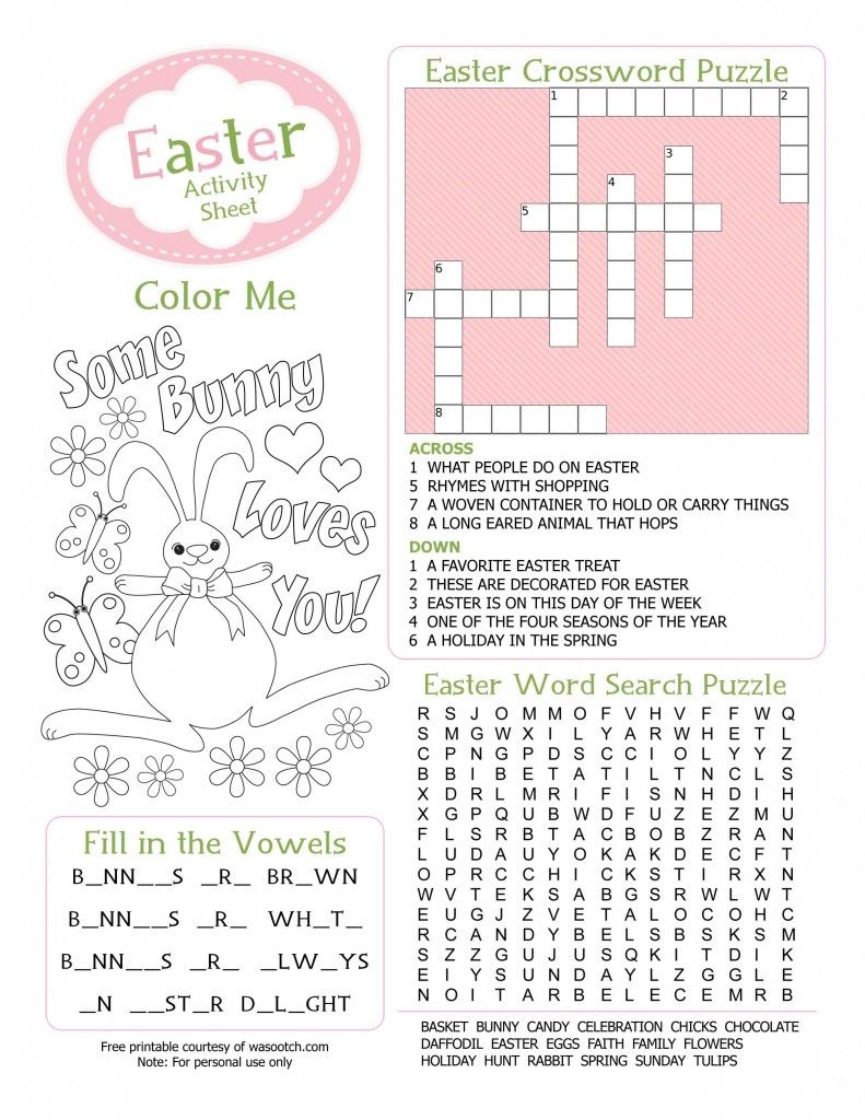 Easter Kids Activity Sheet Free Printable From Wasootch 791X1024 | Free Printable Easter Activities Worksheets