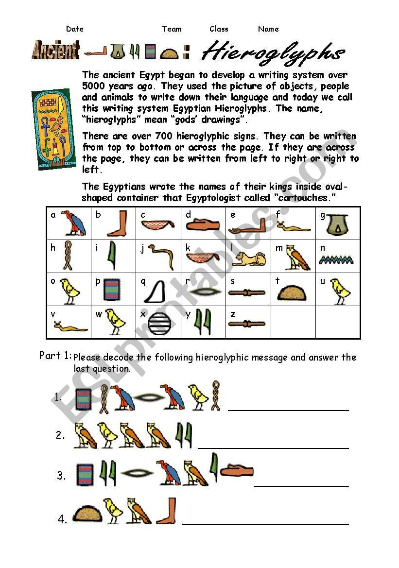 Egypt Hieroglyphs - Esl Worksheetshellytkhr | Printable Decoding Worksheets