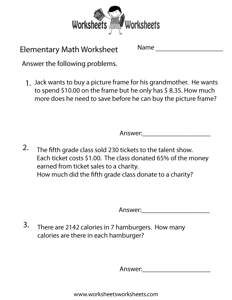 Elementary Math Word Problems Worksheet - Free Printable Educational | Math Problems Printable Worksheets
