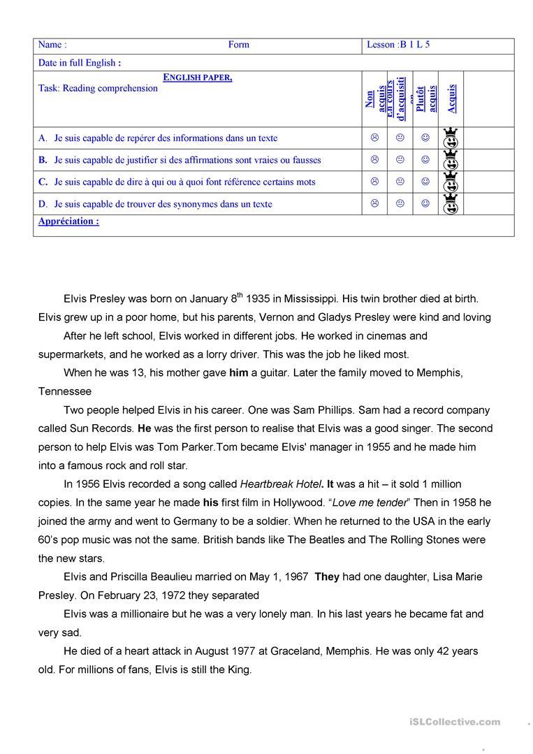 Elvis Presley's Biography Worksheet - Free Esl Printable Worksheets | Printable Biography Worksheets
