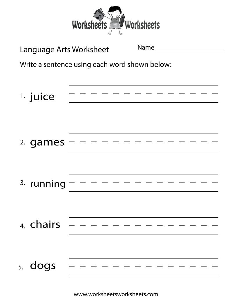 English Language Arts Worksheet - Free Printable Educational | Free Printable School Worksheets