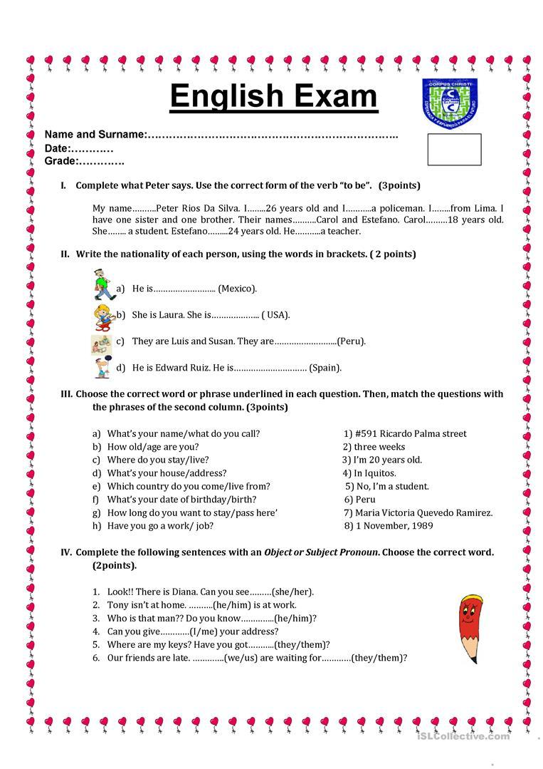 English Test Worksheet - Free Esl Printable Worksheets Madeteachers | English Test Printable Worksheets