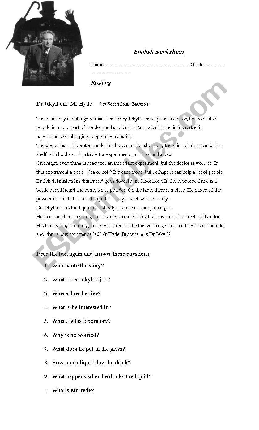 English Worksheet: Dr Jekyll And Mr Hyde | Education | Jekyll, Mr | Dr Jekyll And Mr Hyde Printable Worksheets