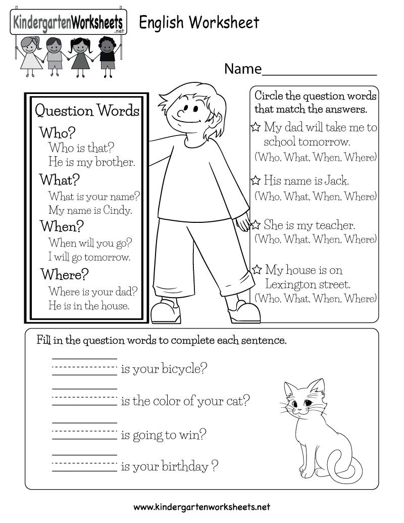 English Worksheet - Free Kindergarten English Worksheet For Kids | English Worksheets Free Printables