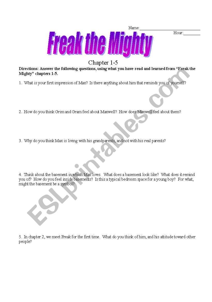 English Worksheets: Freak The Mighty Chpts 1-5 | Freak The Mighty Printable Worksheets