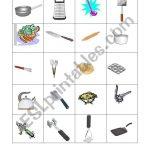 English Worksheets: Kitchen Utensils Memory Game | Kitchen Utensils Printable Worksheets