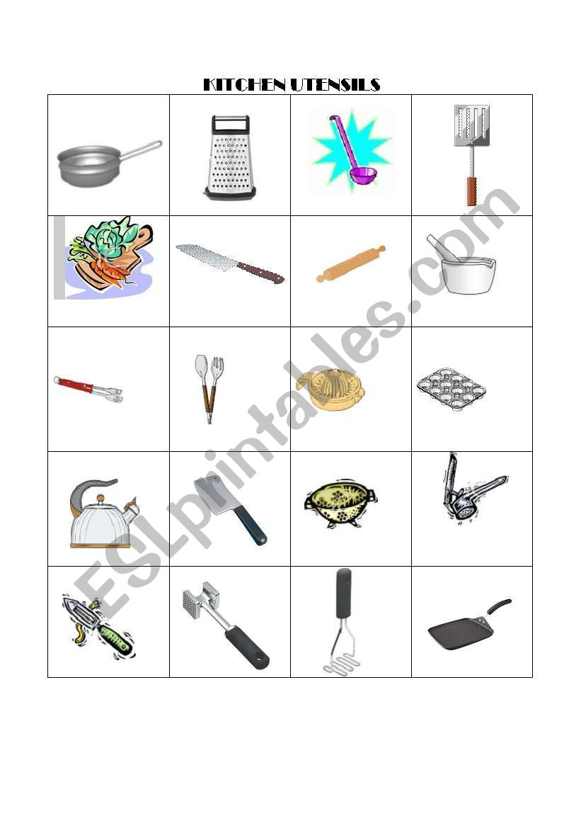 English Worksheets: Kitchen Utensils Memory Game | Kitchen Utensils Printable Worksheets