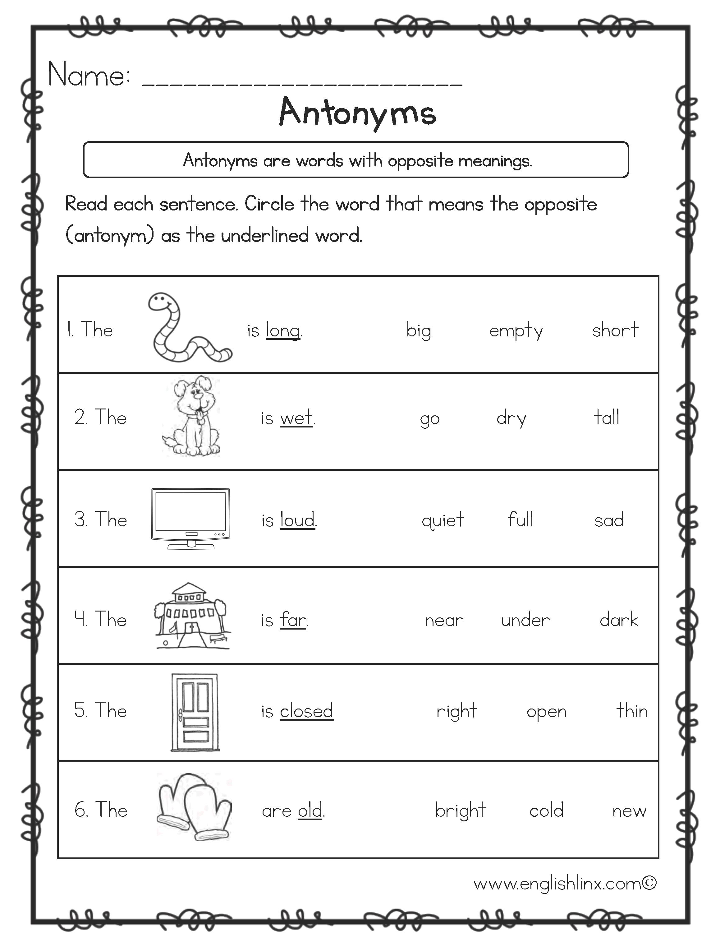 Englishlinx | Antonyms Worksheets | Free Printable Antonym Worksheets