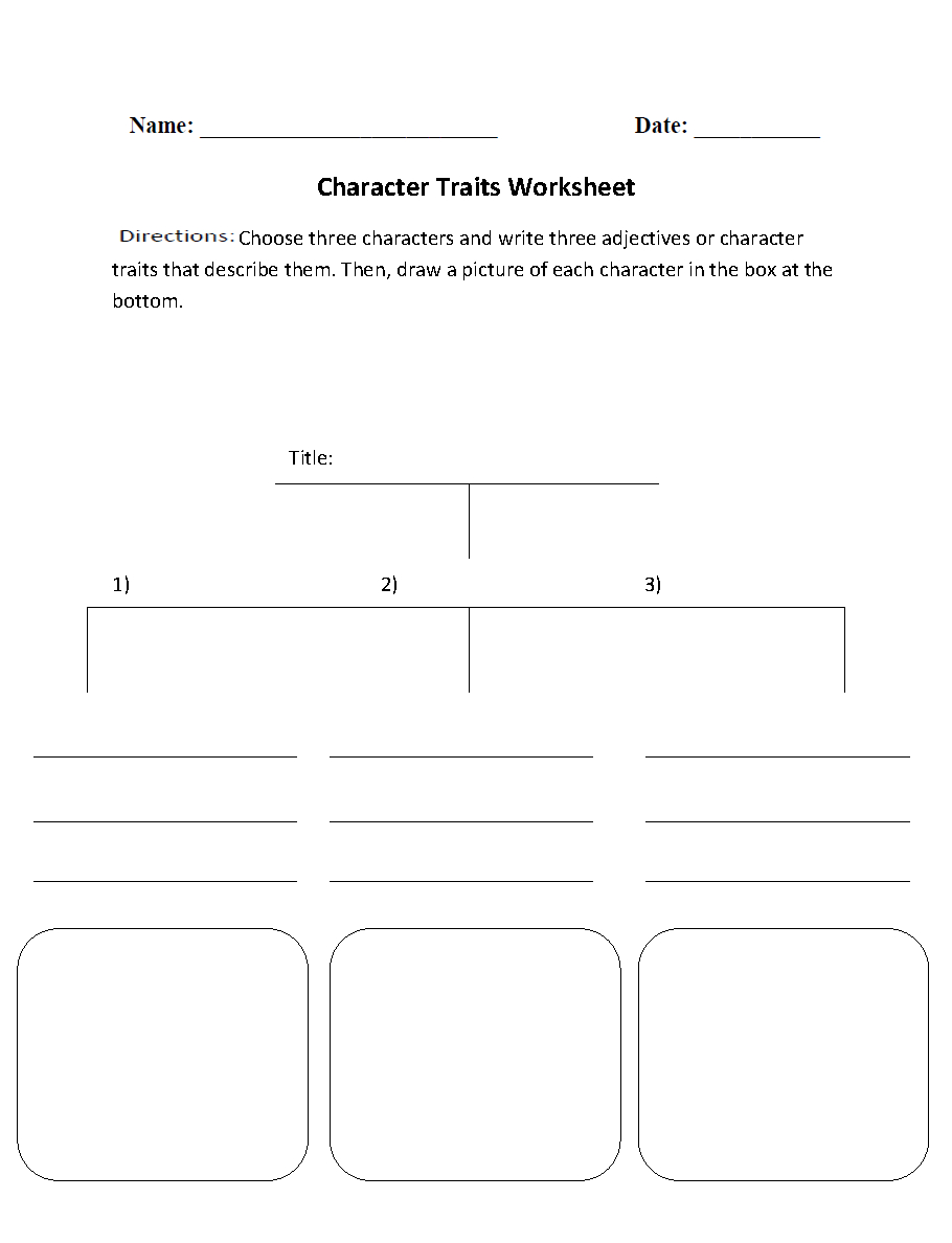 Englishlinx | Character Analysis Worksheets | Printable Character Traits Worksheets