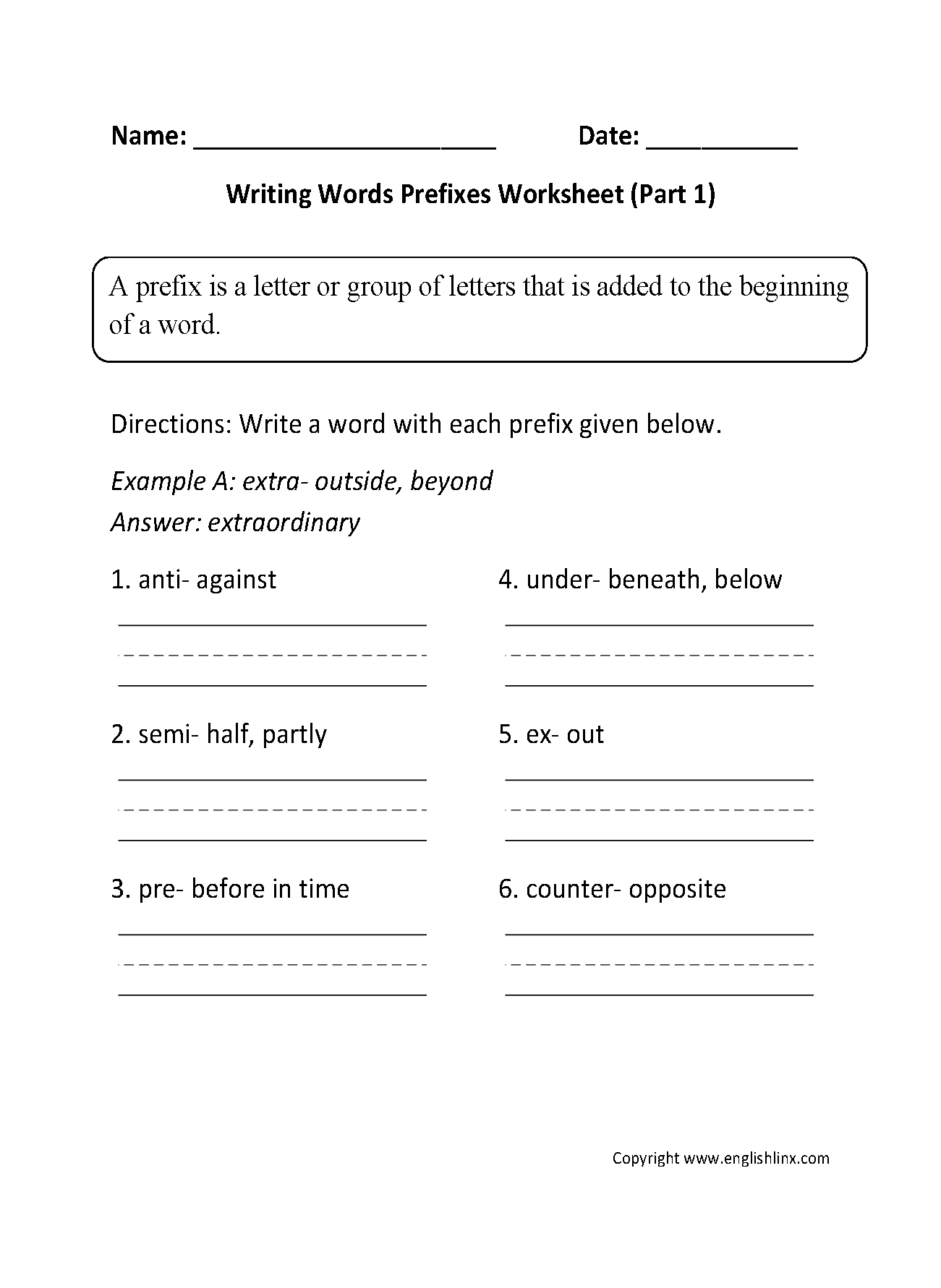 Englishlinx | Prefixes Worksheets | 4Th Grade Printable Worksheets Language Arts