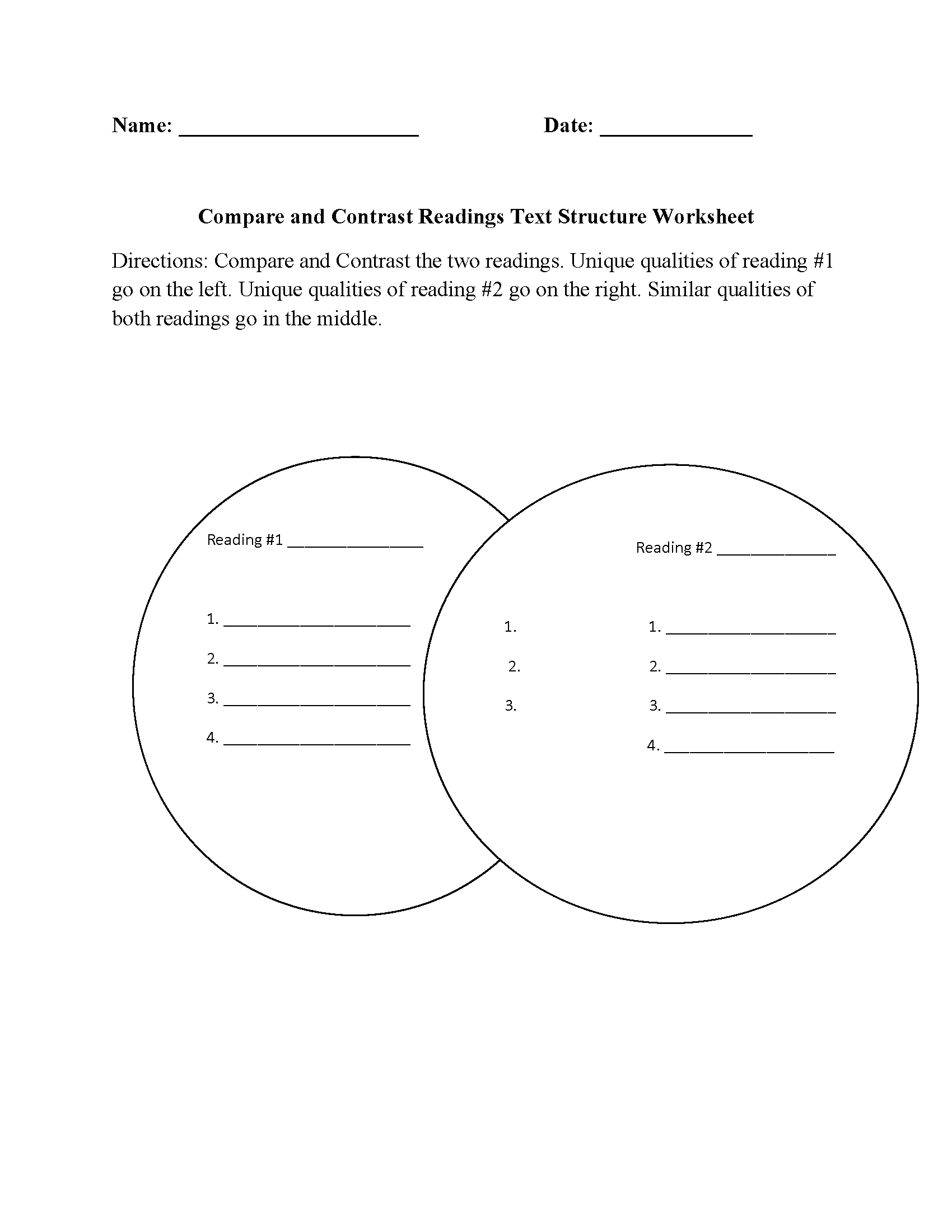 Englishlinx | Text Structure Worksheets | Printable Compare And Contrast Worksheets