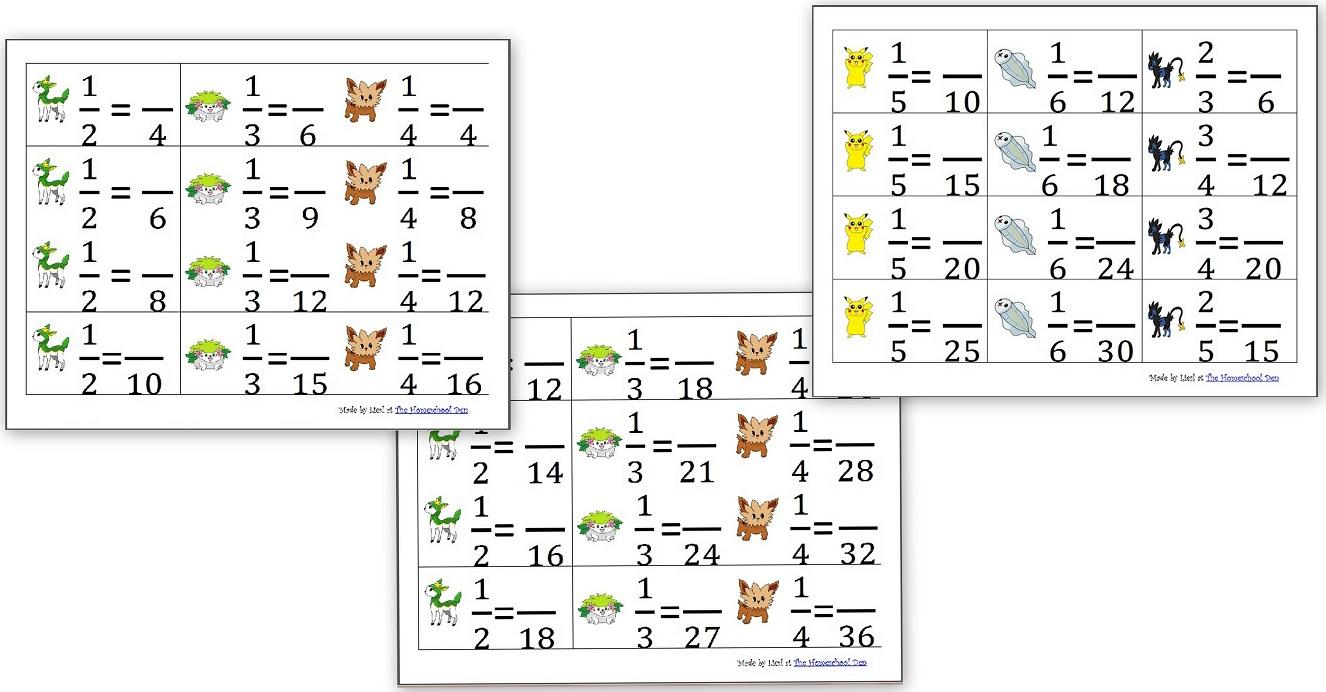 Equivalent Fraction Cards (Pokemon Theme) - Homeschool Den | Pokemon Worksheets Printable