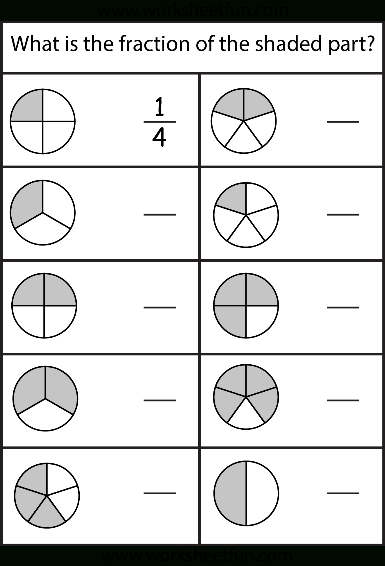 Equivalent Fractions Worksheet / Free Printable Worksheets | Free Printable First Grade Fraction Worksheets