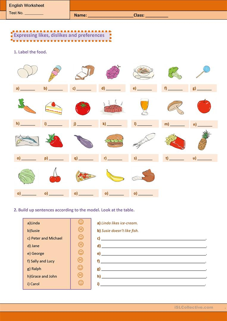 Expressing Likes, Dislikes And Preferences Worksheet - Free Esl | Likes And Dislikes Worksheets Printable