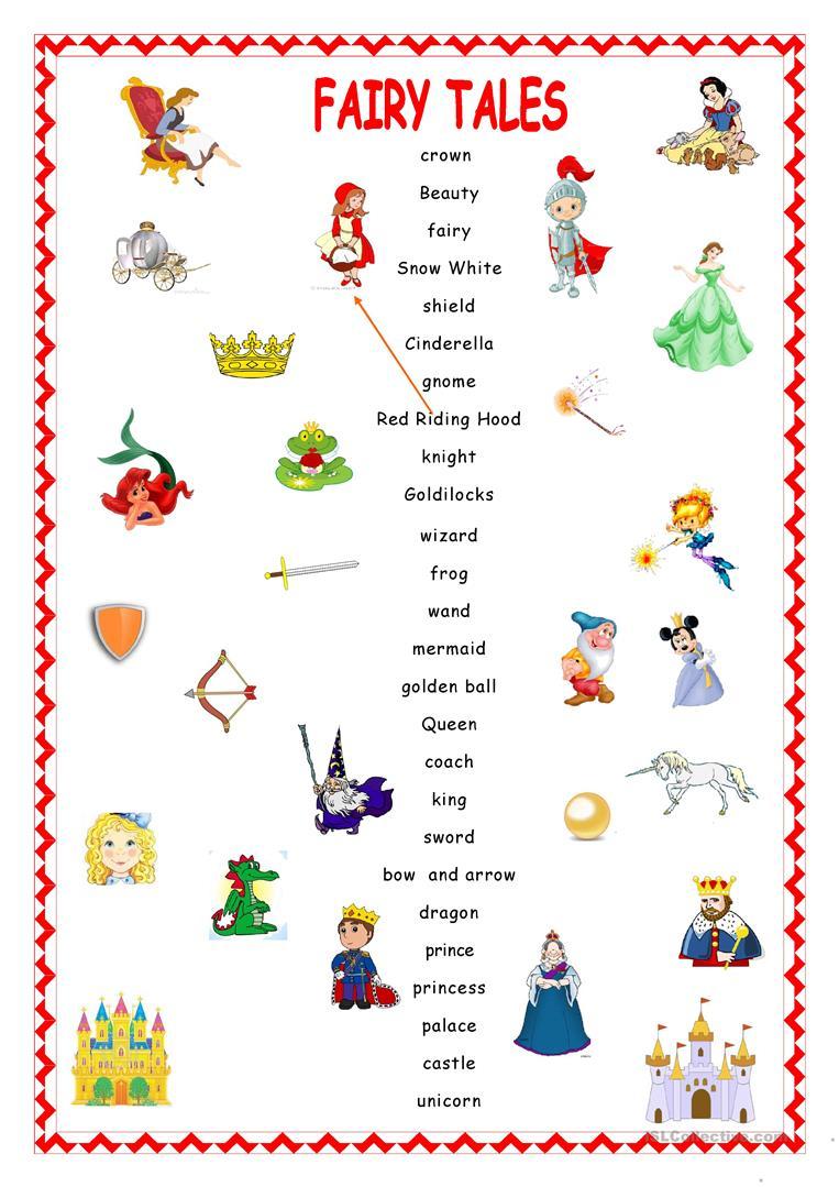 Fairy Tales.matching. Worksheet - Free Esl Printable Worksheets Made | Fairy Tale Printable Worksheets