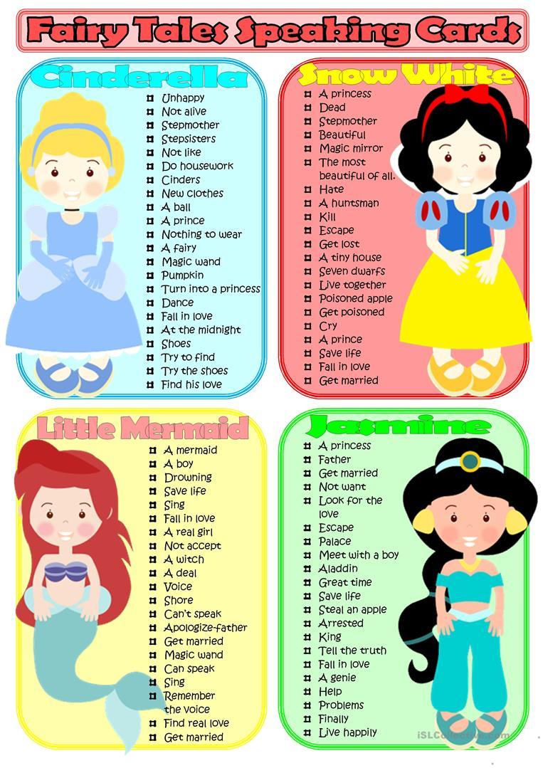 Fairy Tales Speaking Cards Worksheet - Free Esl Printable Worksheets | Fairy Tale Printable Worksheets