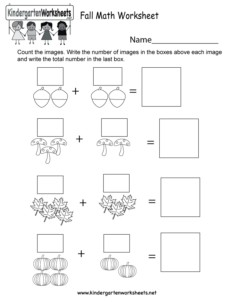Fall Math Worksheet - Free Kindergarten Seasonal Worksheet For Kids   Free Printable Fall Worksheets Kindergarten