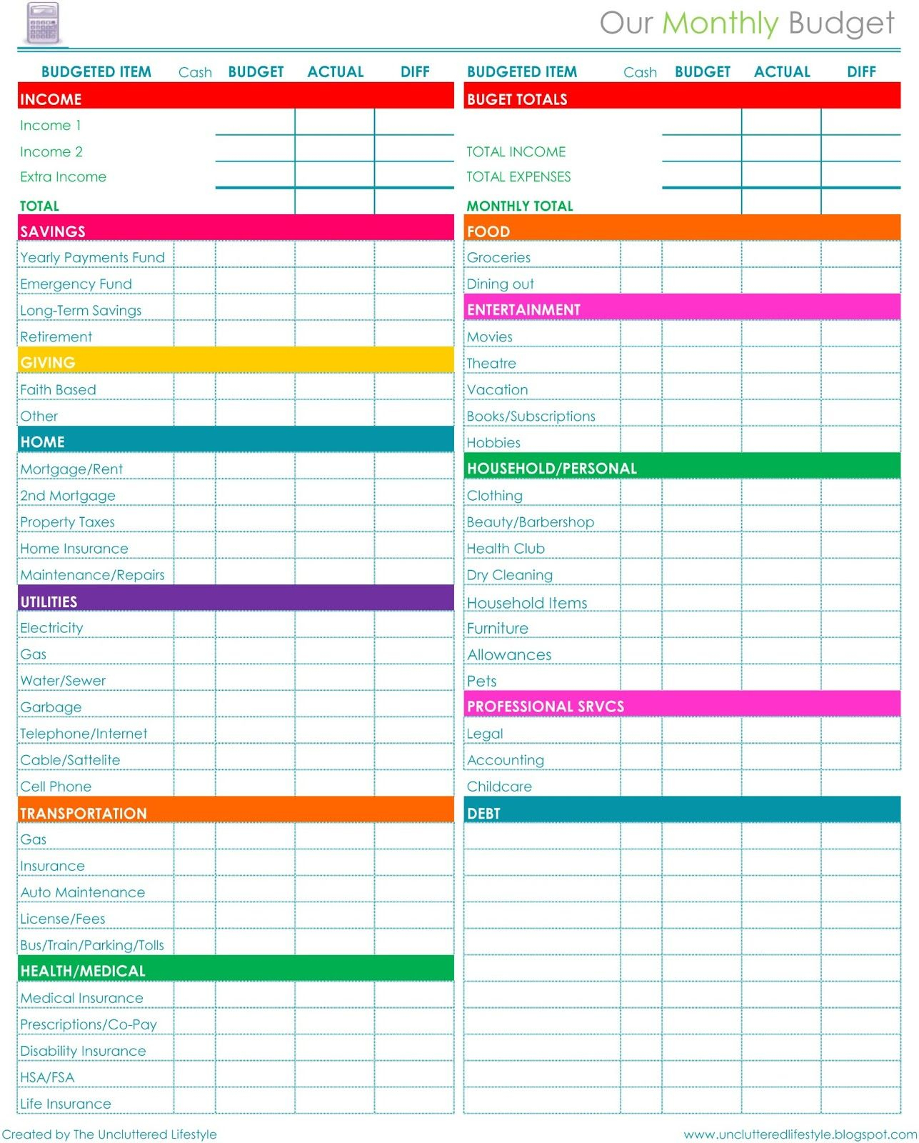 Family Budget Template Monthly Spreadsheet Personal Free Download | Free Printable Dave Ramsey Worksheets