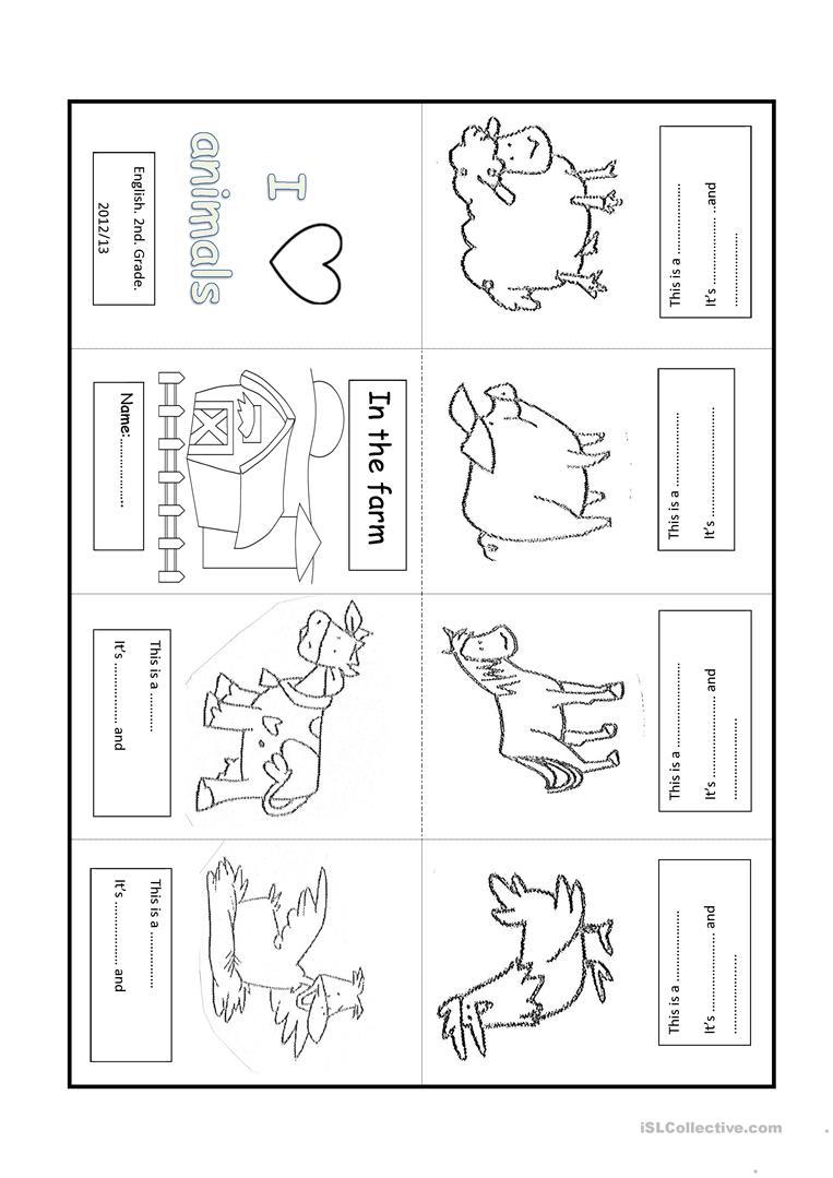 Farm Animal. Minibook Worksheet - Free Esl Printable Worksheets Made | Farm Animals Printable Worksheets