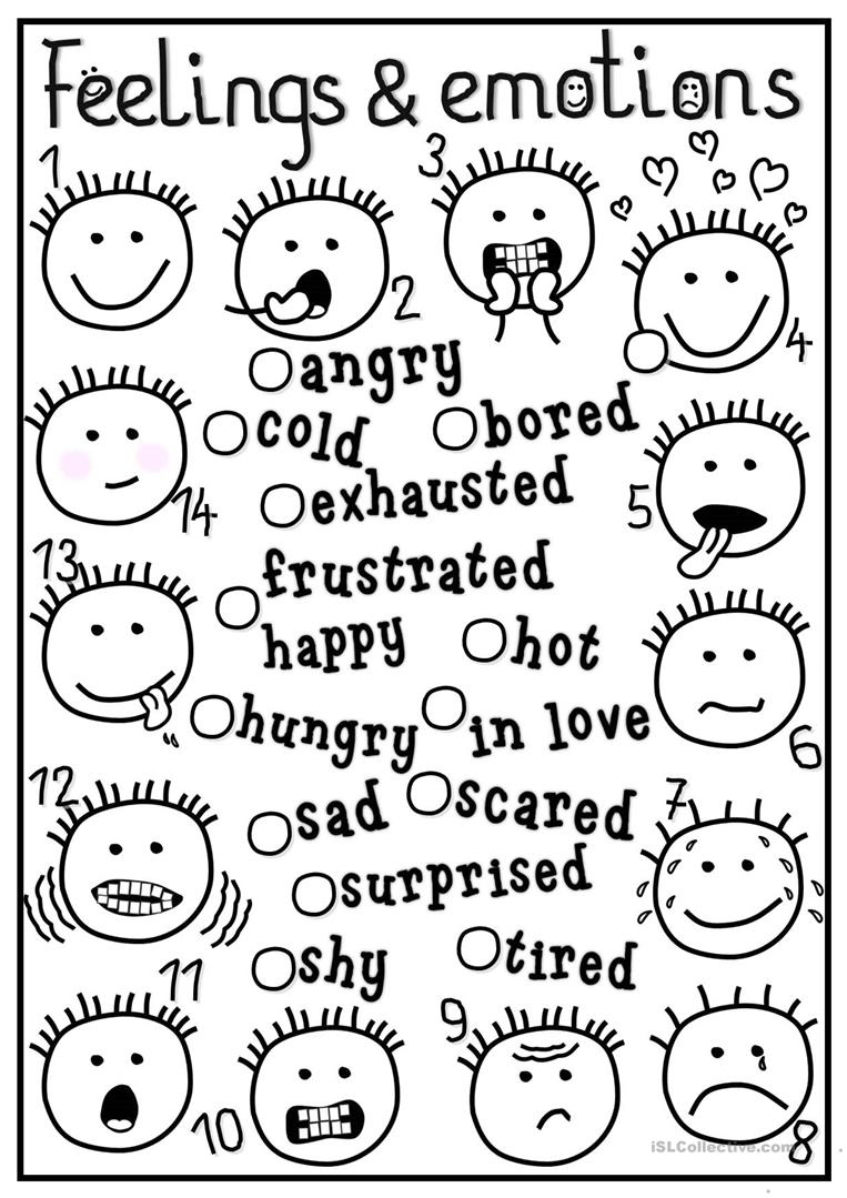 Feelings And Emotions - Matching Worksheet - Free Esl Printable | Feelings And Emotions Worksheets Printable