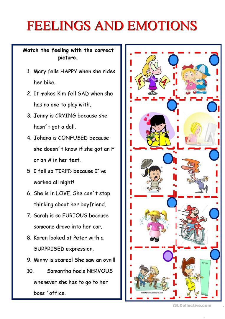 Feelings And Emotions Worksheet - Free Esl Printable Worksheets Made | Feelings And Emotions Worksheets Printable