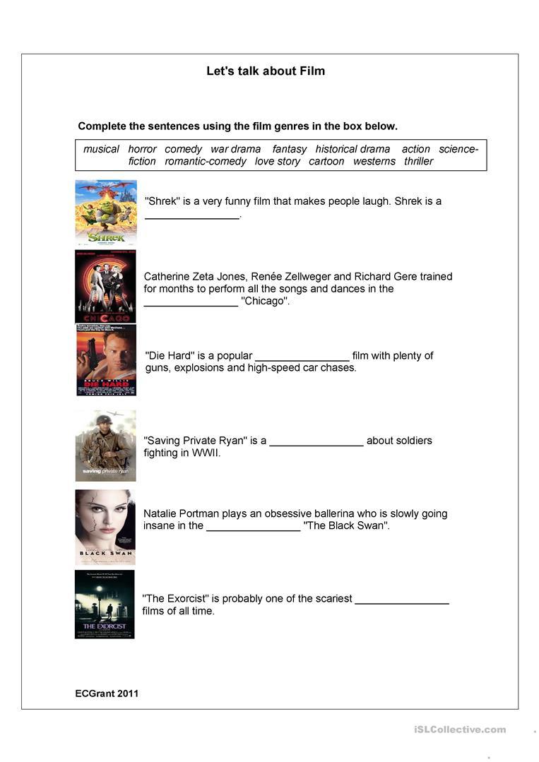 Film Genres Worksheet - Free Esl Printable Worksheets Madeteachers | Wwii Printable Worksheets