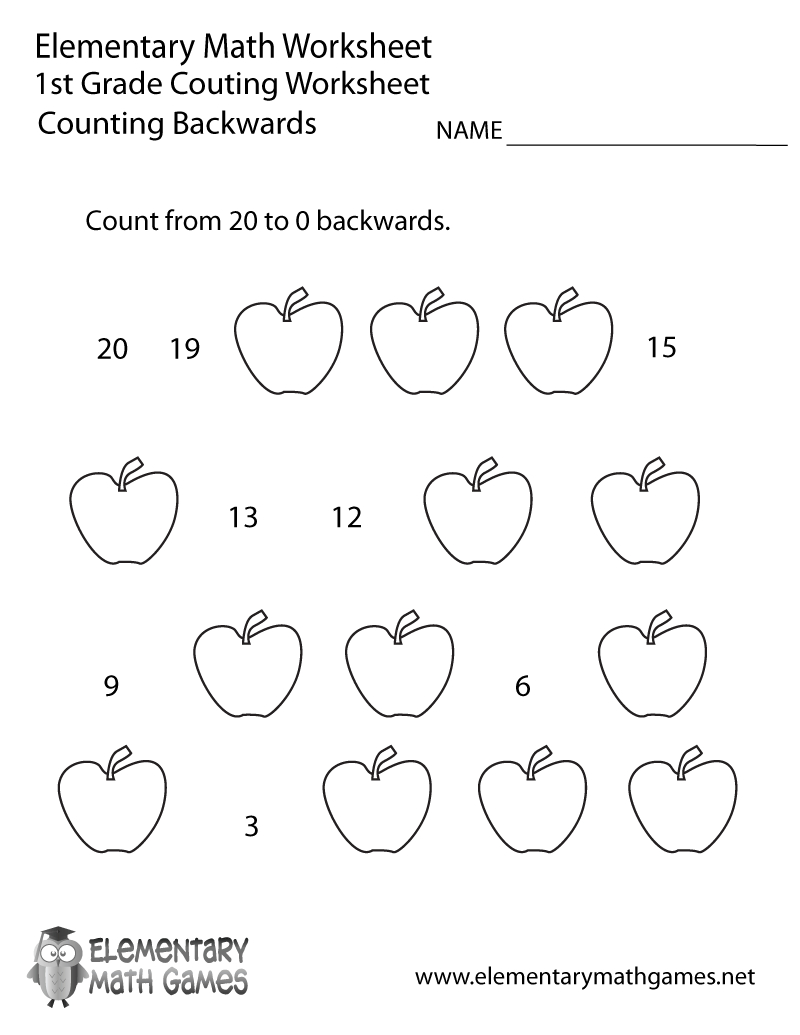 First Grade Counting Backwards Worksheet Printable | Math | 1St | First Grade Printable Worksheets