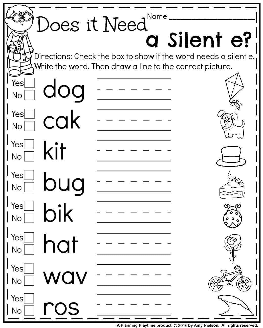 First Grade Summer Worksheets | Teachers Pay Teachers - My Store | Silent E Printable Worksheets