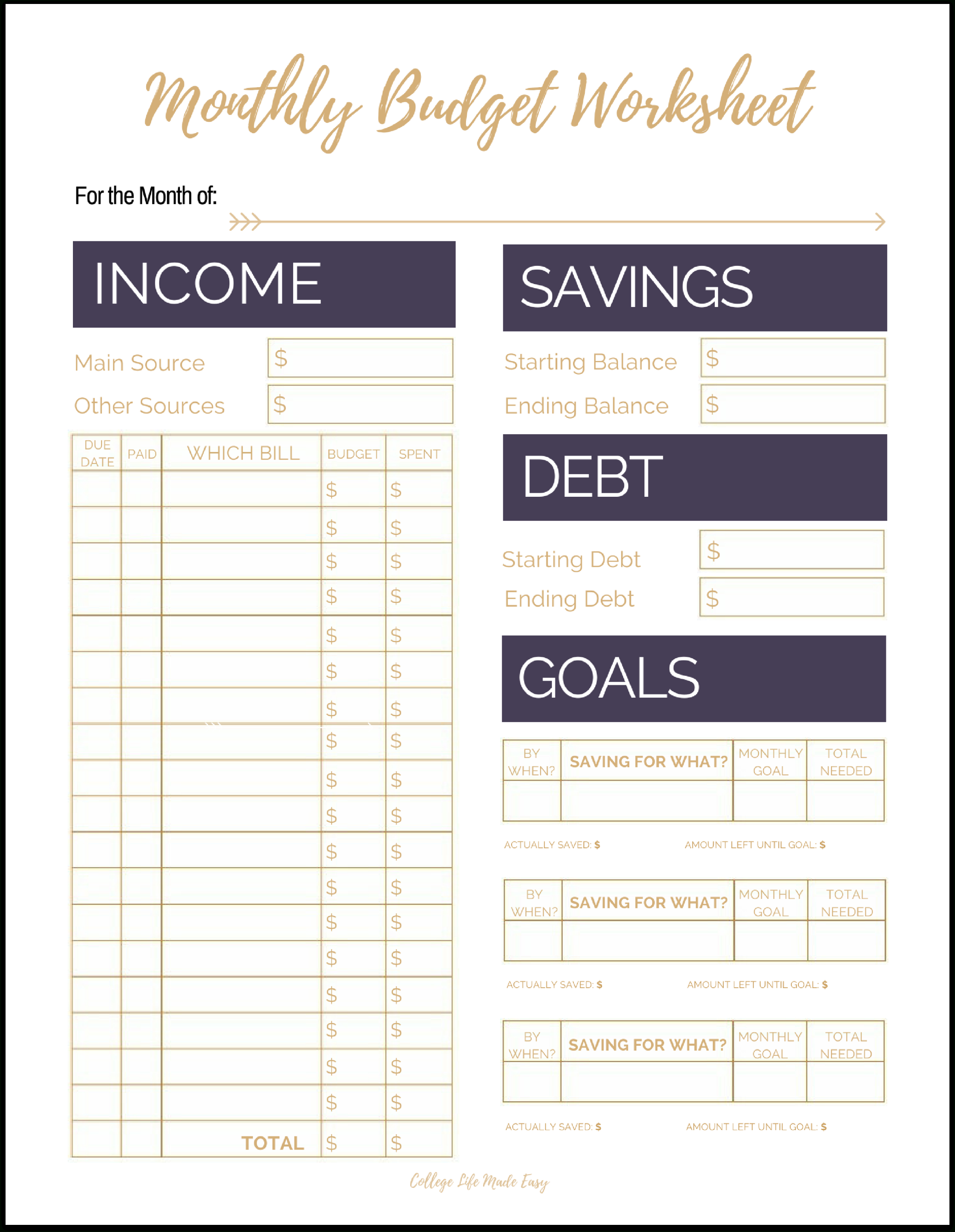 Fix Your Finances Asap With My (Free) Simple Monthly Budget Template | Printable Budget Worksheet Pdf
