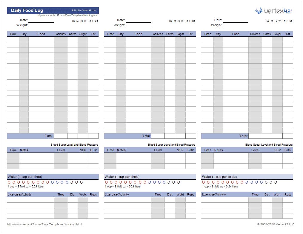 Food Log Template   Printable Daily Food Log   Free Printable Calorie Counter Worksheet