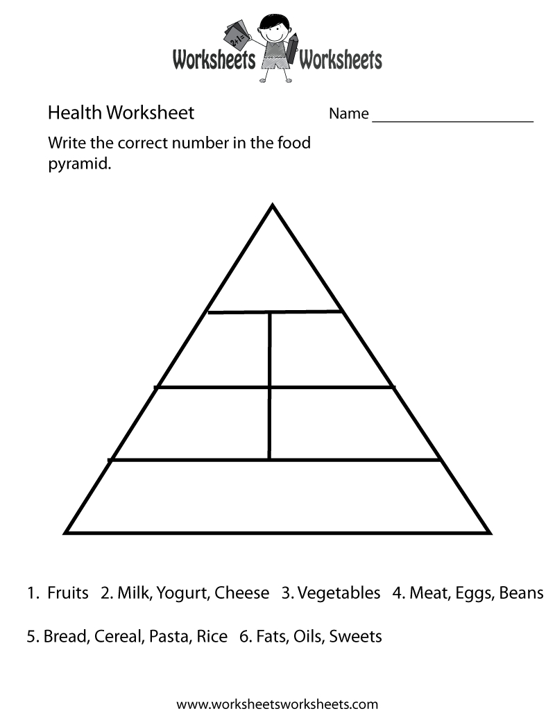 Food Pyramid Health Worksheet Printable | Church | Food Pyramid Kids | 4Th Grade Health Printable Worksheets