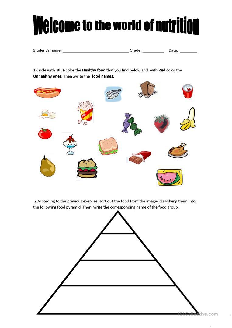 Food Pyramid - Healthy And Unhealthy Food. Worksheet - Free Esl | Free Printable Healthy Eating Worksheets
