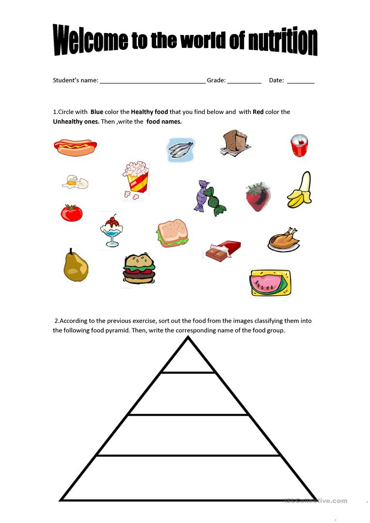 Food Pyramid - Healthy And Unhealthy Food. Worksheet - Free Esl | Free Printable Nutrition Worksheets