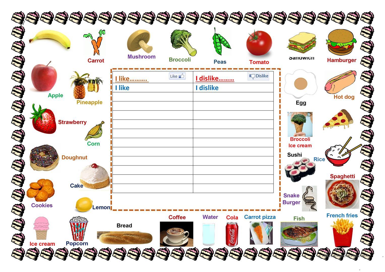 Foods I Like & Dislike Worksheet - Free Esl Printable Worksheets | Likes And Dislikes Worksheets Printable