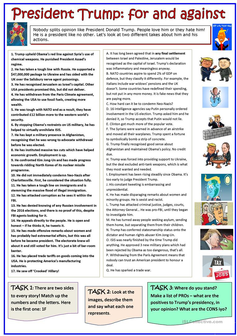 For And Against: President Trump Worksheet - Free Esl Printable | Free Printable President Worksheets
