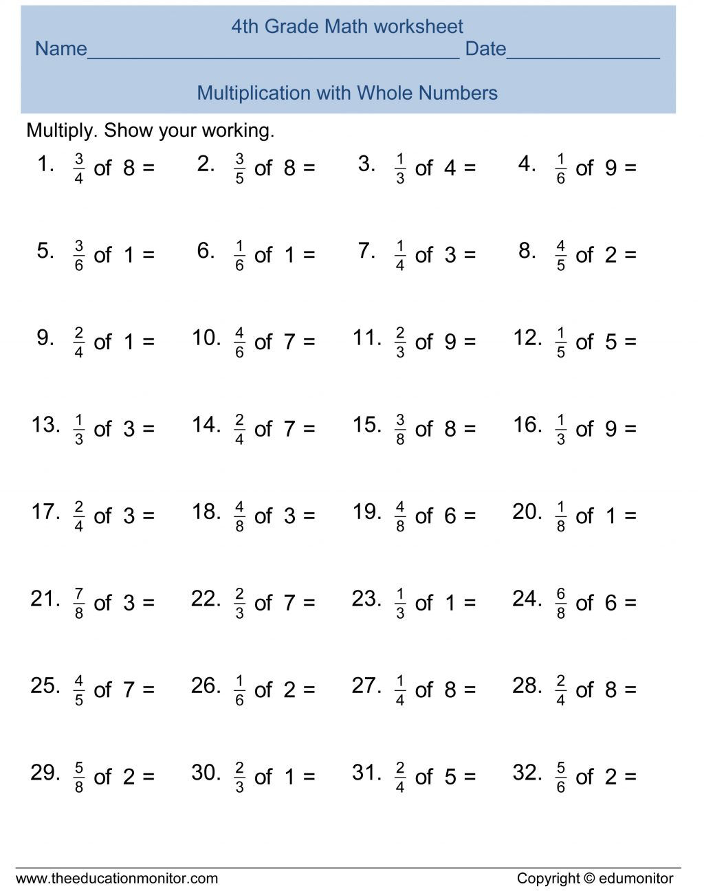 Fourth Grade Math Worksheets Multiplication Free Printable | Printable 4Th Grade Math Worksheets