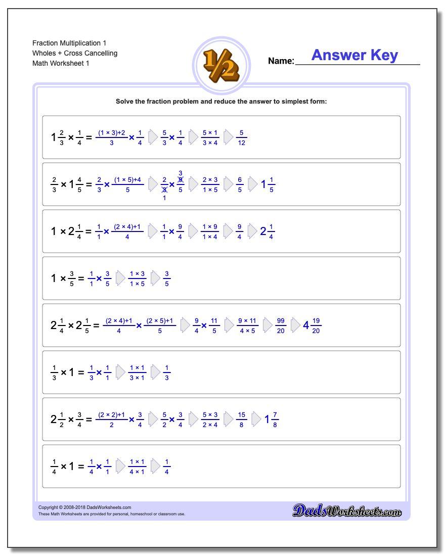 Fraction Multiplication | Printable Fraction Worksheets