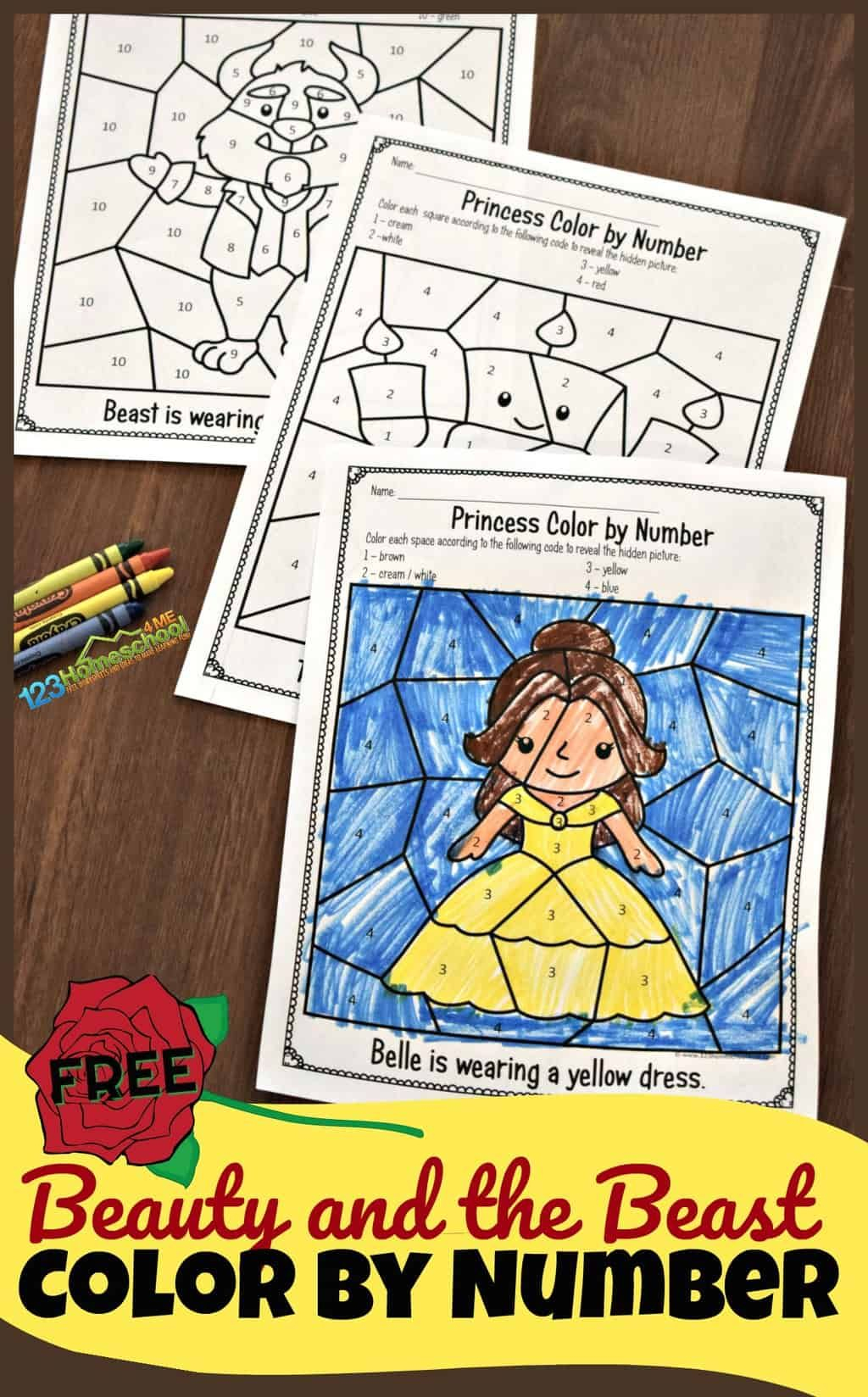 Free Beauty And The Beast Colornumber Worksheets | Hs- Preschool | The Printable Princess Worksheets