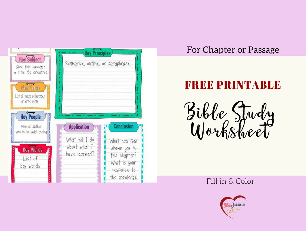 Free Bible Journal Key Worksheet – Bible Journal Love | Free Printable Bible Study Worksheets For Adults