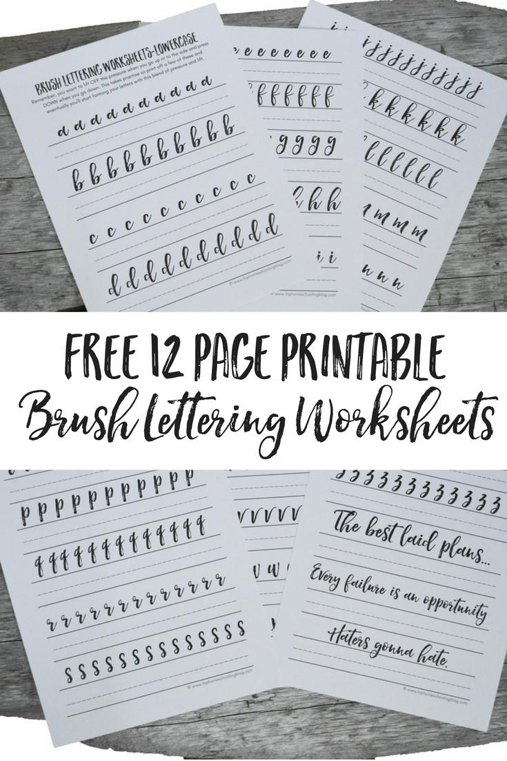 Free Brush Lettering Worksheets | Free Printable Calligraphy Worksheets