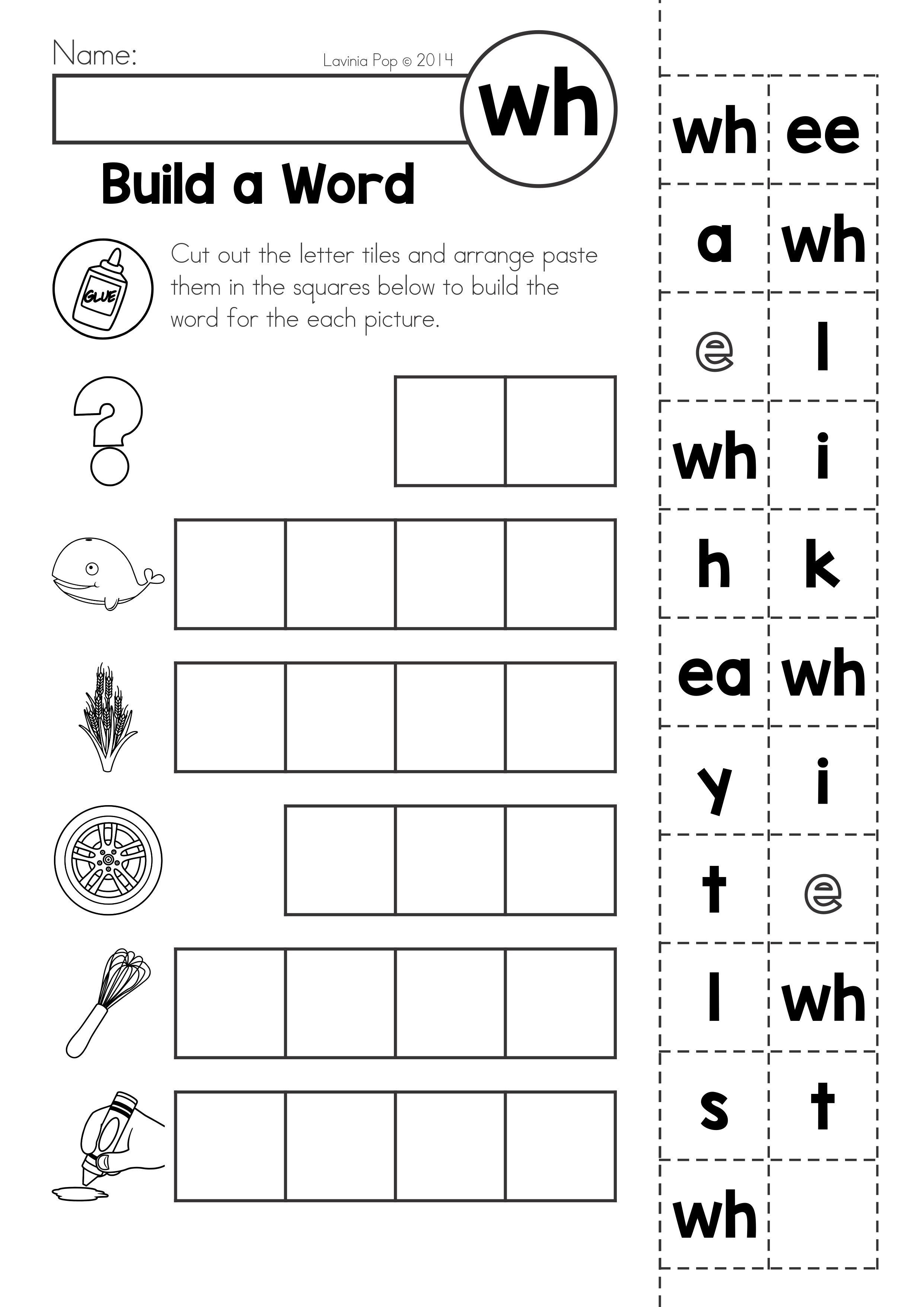 Free Digraph Wh: Phonics Word Work {Multiple Phonograms} | Tutoring | Free Printable Phoneme Segmentation Worksheets