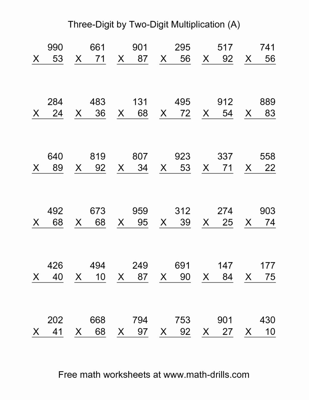 Free Double Digit Multiplication Worksheets Awesome Picture | Free Printable Double Digit Multiplication Worksheets