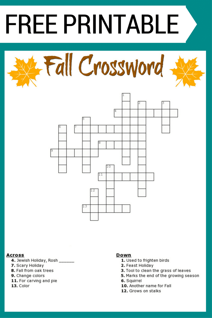 Free #fall Crossword Puzzle #printable Worksheet Available With And | Fall Word Search Printable Worksheets