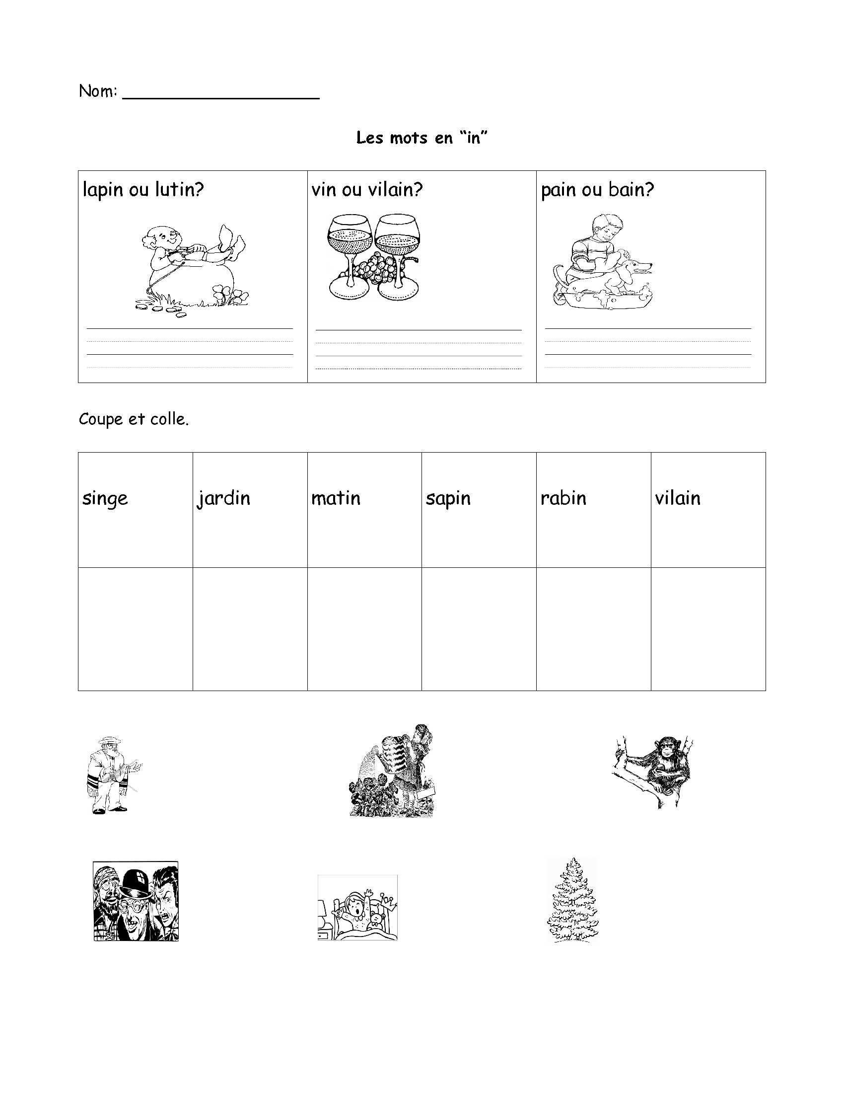 Free French Worksheet- Grade 1, Grade 2, Grade 3. Fsl, Core French | Free Printable French Worksheets For Grade 1