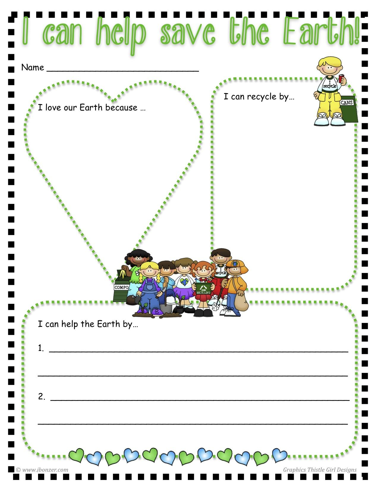 "Free ""i Can Help Save The Earth"" Printable 