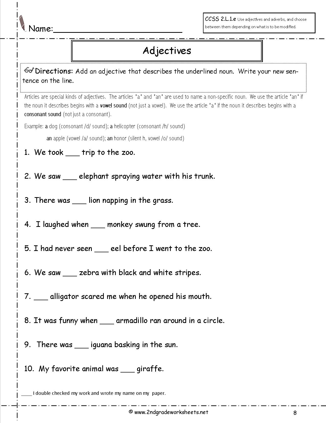 Free Language/grammar Worksheets And Printouts | Free Printable Worksheets On Articles For Grade 1
