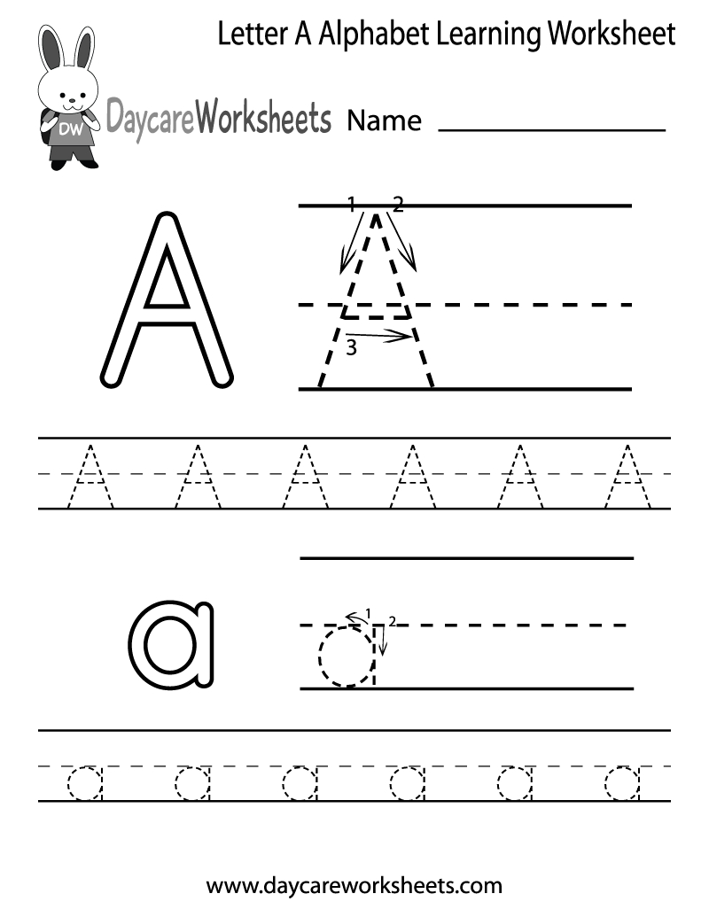 Free Letter A Alphabet Learning Worksheet For Preschool Plus Lots Of | Learn Your Letters Printable Worksheets