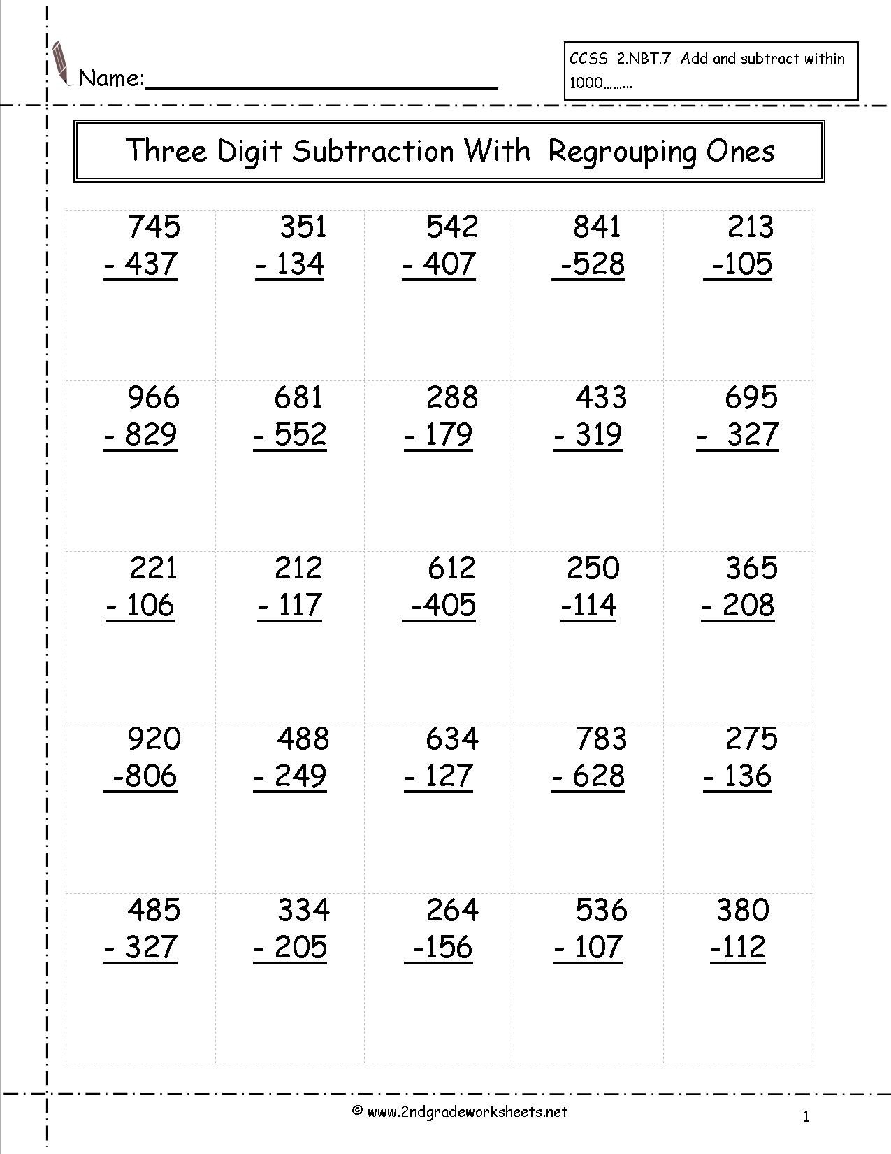 Free Math Worksheets And Printouts | 3Rd Grade Math Subtraction Printable Worksheets