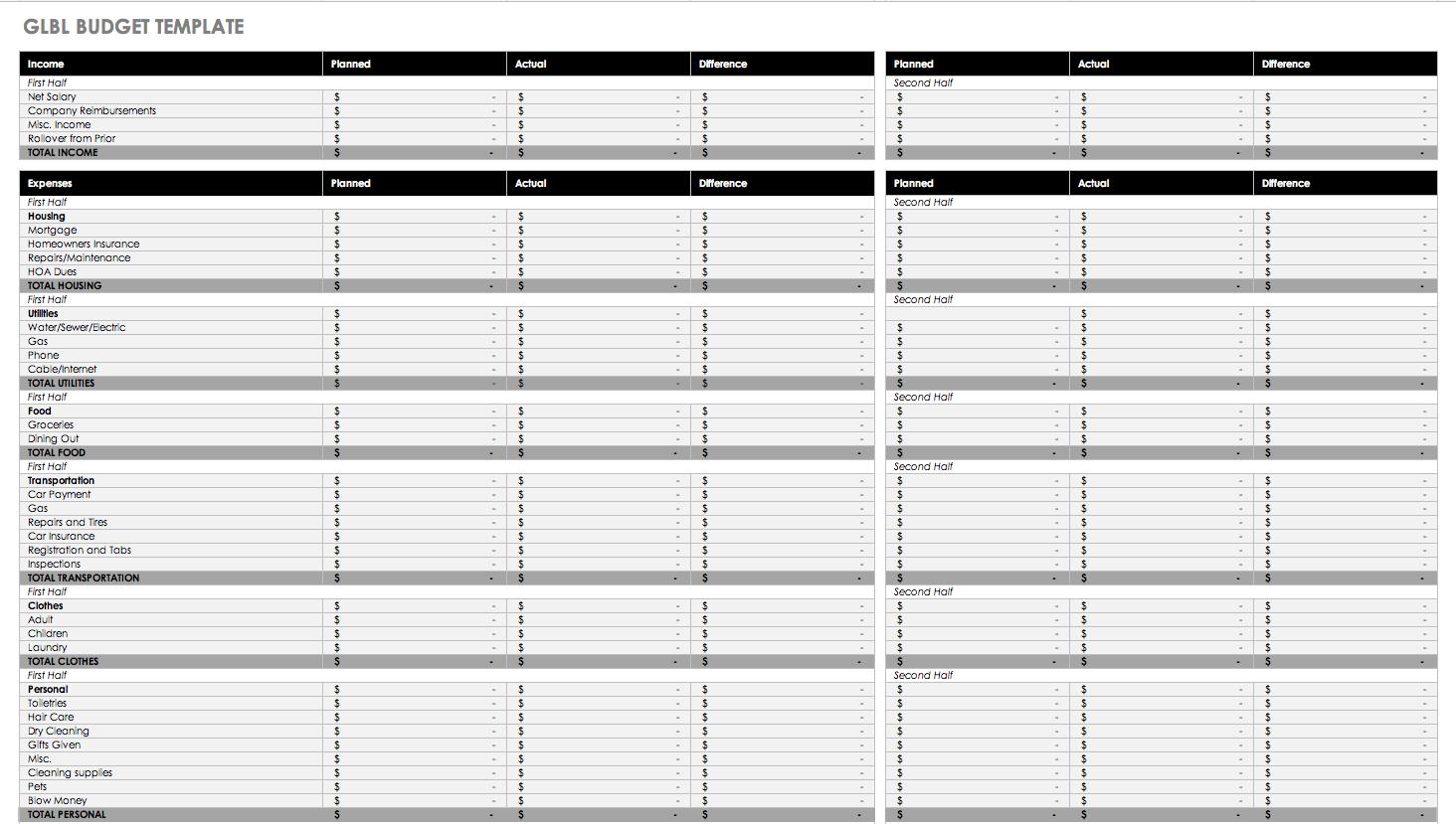 Free Monthly Budget Templates | Smartsheet | Free Printable Monthly Bills Worksheet