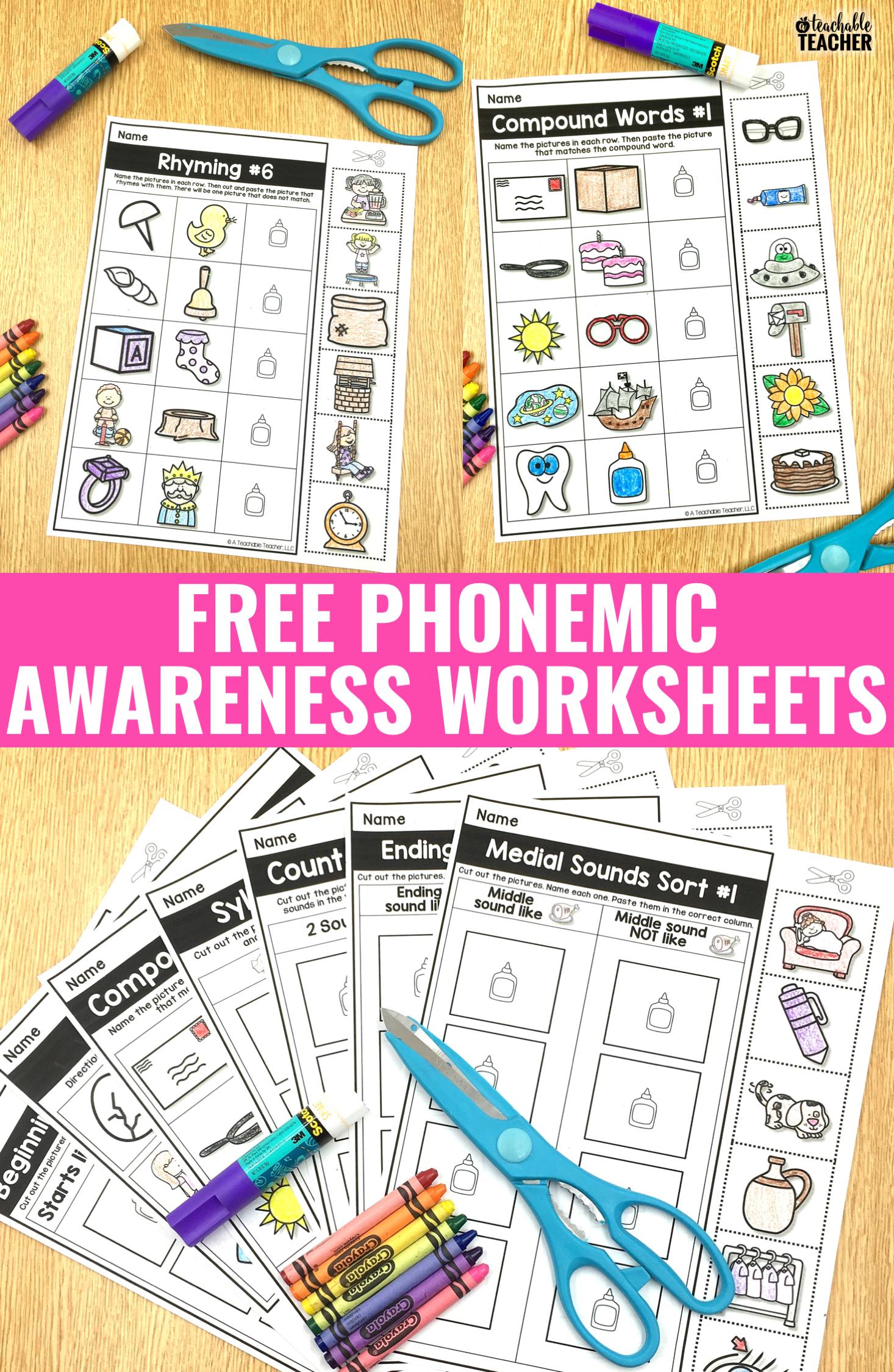 Free Phonemic Awareness Worksheets - Interactive And Picture-Based | Free Printable Phoneme Segmentation Worksheets